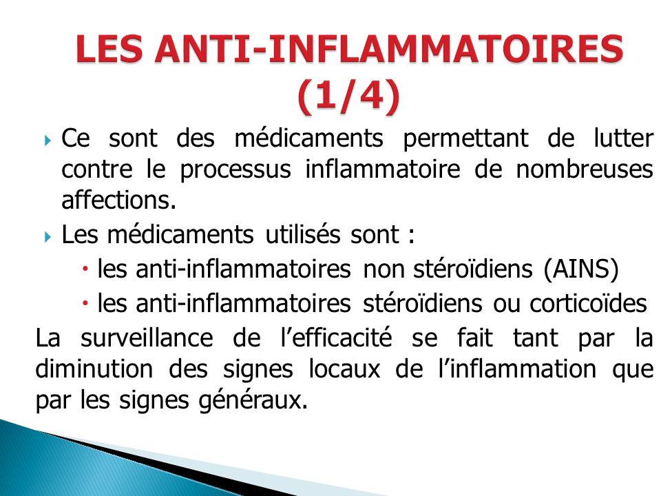 Ce sont des médicaments permettant de lutter contre le processus inflammatoire de nombreuses affections. Les médicaments utilisés sont : les anti-infl
