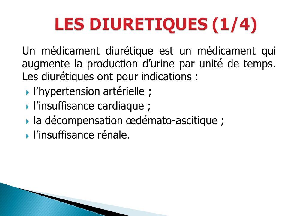 Un médicament diurétique est un médicament qui augmente la production durine par unité de temps. Les diurétiques ont pour indications : lhypertension