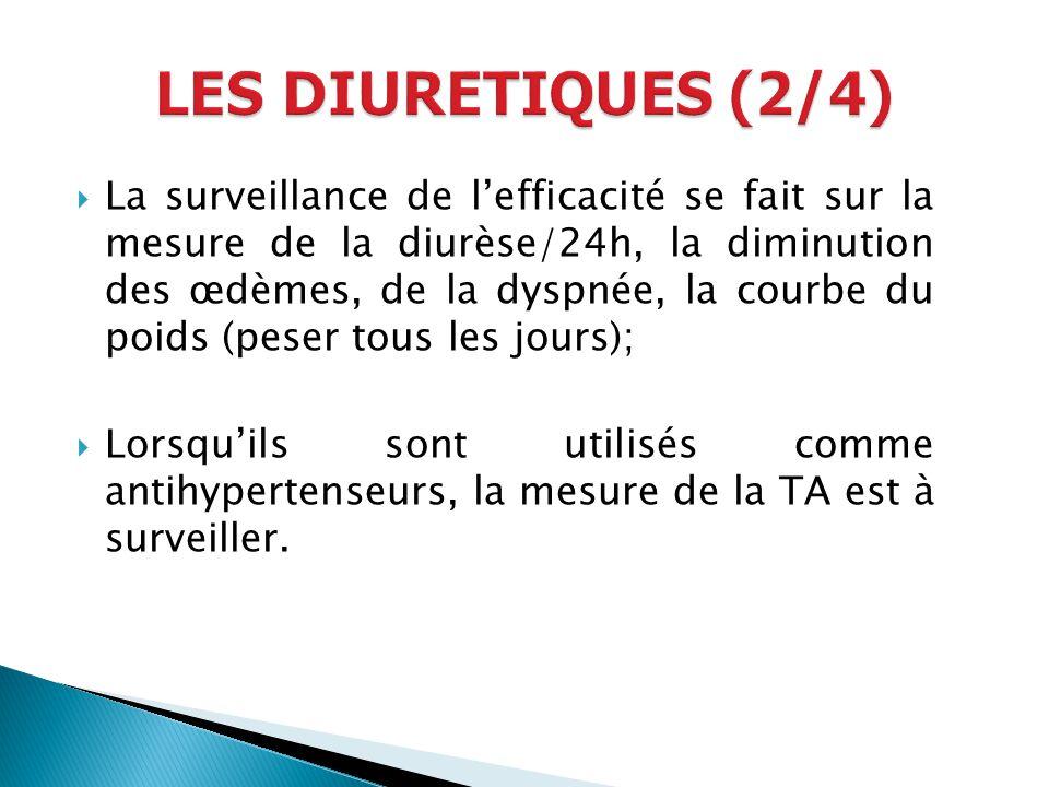 La surveillance de lefficacité se fait sur la mesure de la diurèse/24h, la diminution des œdèmes, de la dyspnée, la courbe du poids (peser tous les jo
