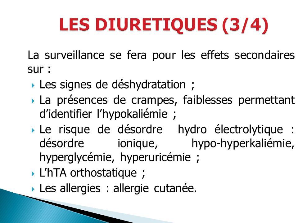 La surveillance se fera pour les effets secondaires sur : Les signes de déshydratation ; La présences de crampes, faiblesses permettant didentifier lh