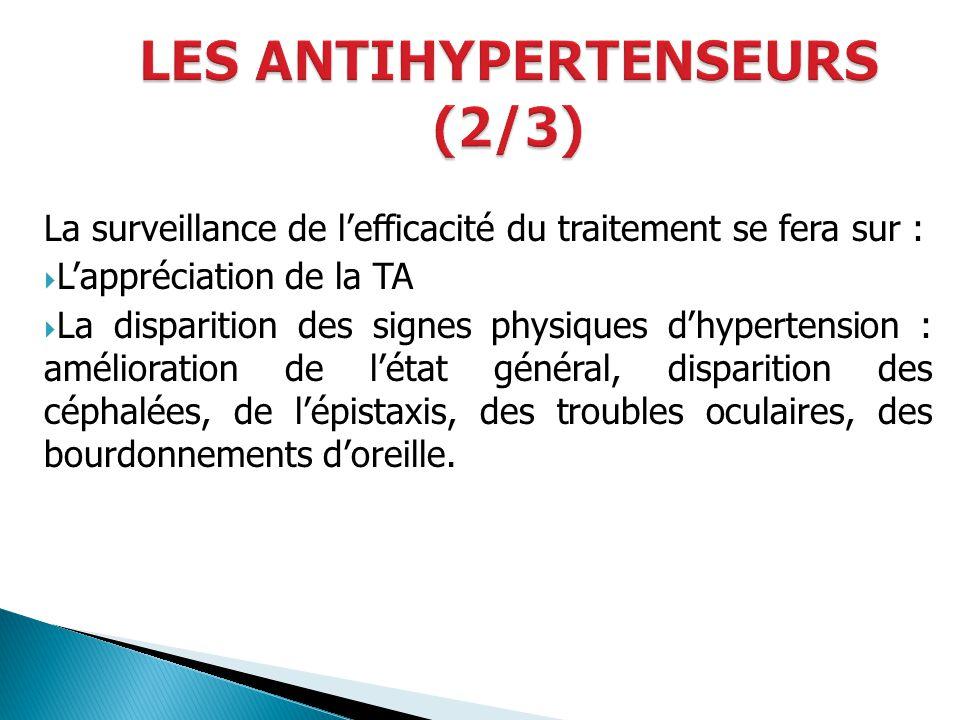 La surveillance de lefficacité du traitement se fera sur : Lappréciation de la TA La disparition des signes physiques dhypertension : amélioration de