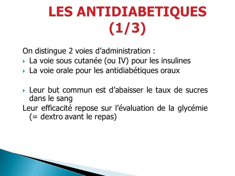 On distingue 2 voies dadministration : La voie sous cutanée (ou IV) pour les insulines La voie orale pour les antidiabétiques oraux Leur but commun es