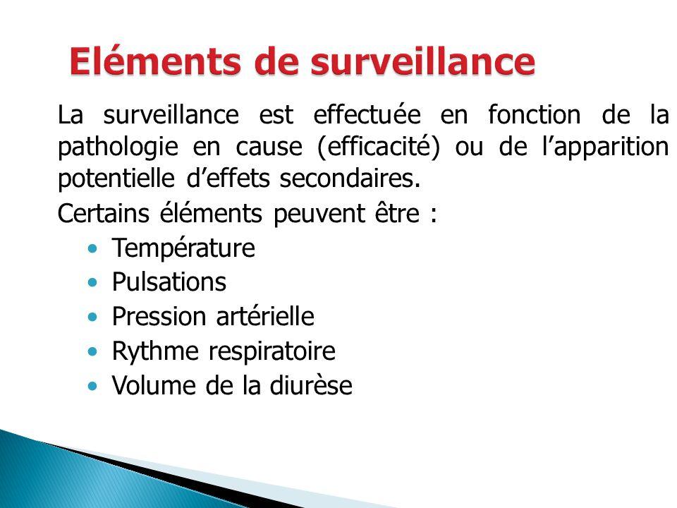 La surveillance est effectuée en fonction de la pathologie en cause (efficacité) ou de lapparition potentielle deffets secondaires. Certains éléments