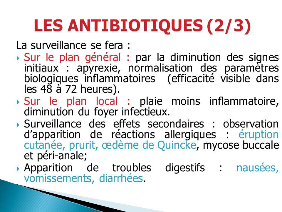 La surveillance se fera : Sur le plan général : par la diminution des signes initiaux : apyrexie, normalisation des paramètres biologiques inflammatoi