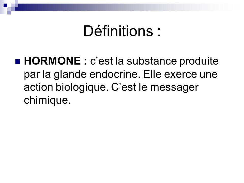 Définitions : HORMONE : cest la substance produite par la glande endocrine. Elle exerce une action biologique. Cest le messager chimique.