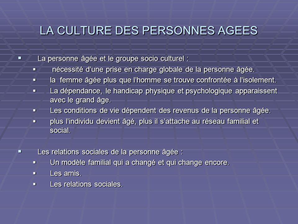 LA CULTURE DES PERSONNES AGEES La personne âgée et le groupe socio culturel : La personne âgée et le groupe socio culturel : nécessité dune prise en c