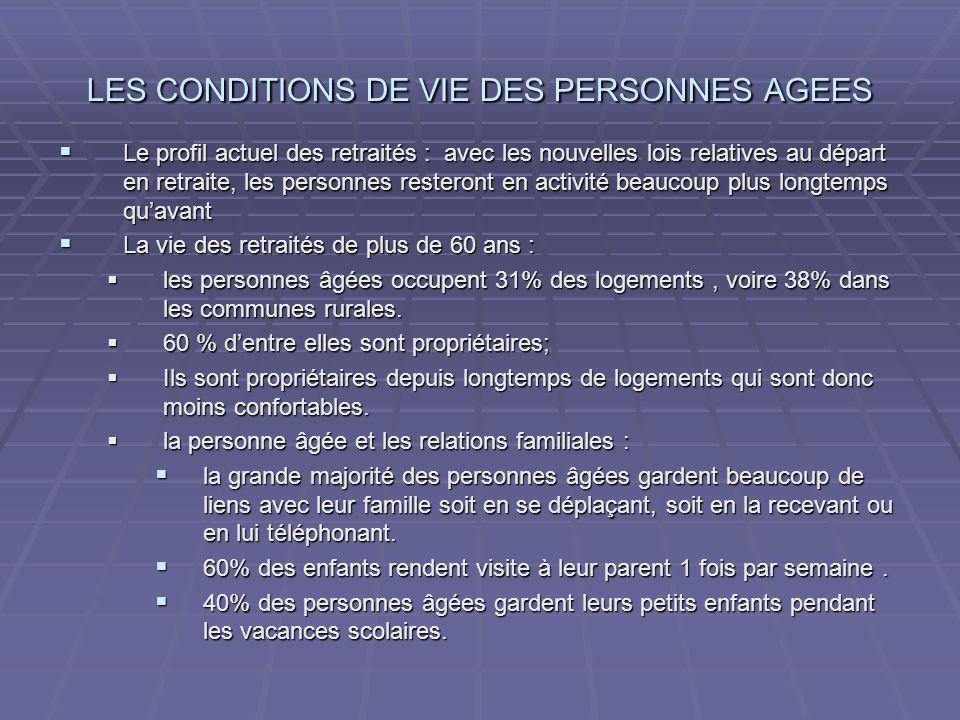 LES CONDITIONS DE VIE DES PERSONNES AGEES Le profil actuel des retraités : avec les nouvelles lois relatives au départ en retraite, les personnes rest