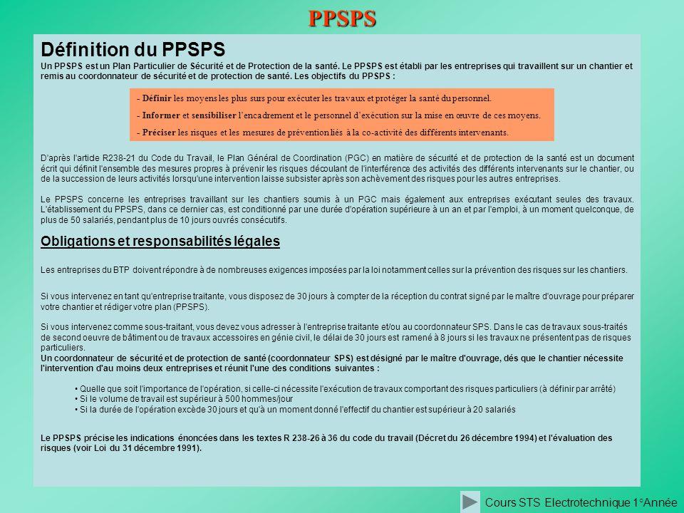 Cours STS Electrotechnique 1°AnnéePPSPS Définition du PPSPS Un PPSPS est un Plan Particulier de Sécurité et de Protection de la santé. Le PPSPS est ét