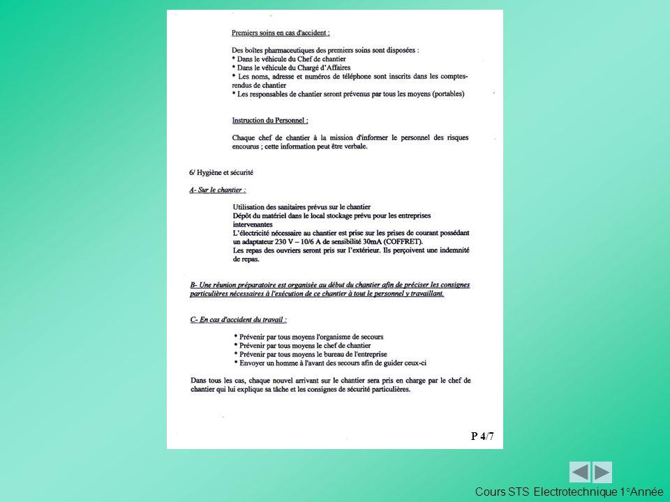 Cours STS Electrotechnique 1°Année P 4/7