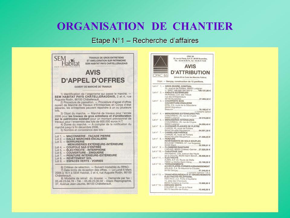 ORGANISATION DE CHANTIER Etape N°1 – Recherche daffaires * Consulter les appels doffres des marchés publics et privés * Rechercher des clients potenti