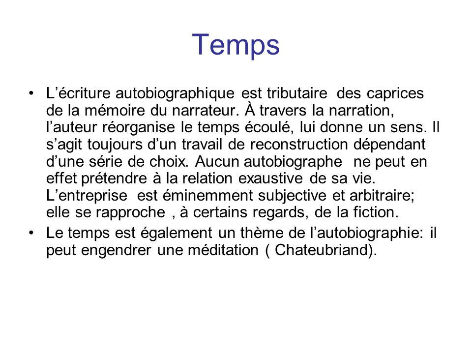 Temps Lécriture autobiographique est tributaire des caprices de la mémoire du narrateur.