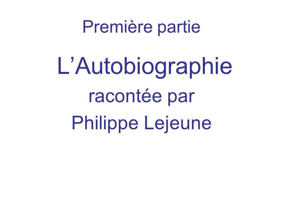 Première partie LAutobiographie racontée par Philippe Lejeune