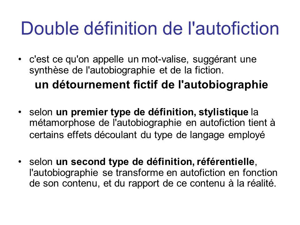Double définition de l autofiction c est ce qu on appelle un mot-valise, suggérant une synthèse de l autobiographie et de la fiction.