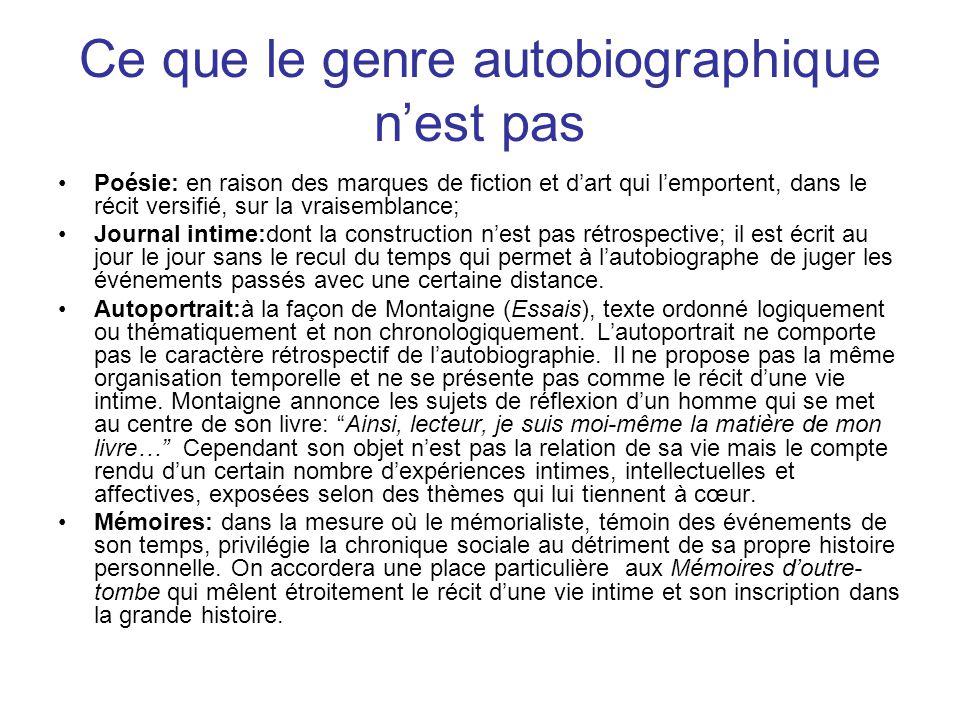 Le pacte autobiographique Les œuvres autobiographiques se présentent comme une communication entre lauteur et le lecteur.