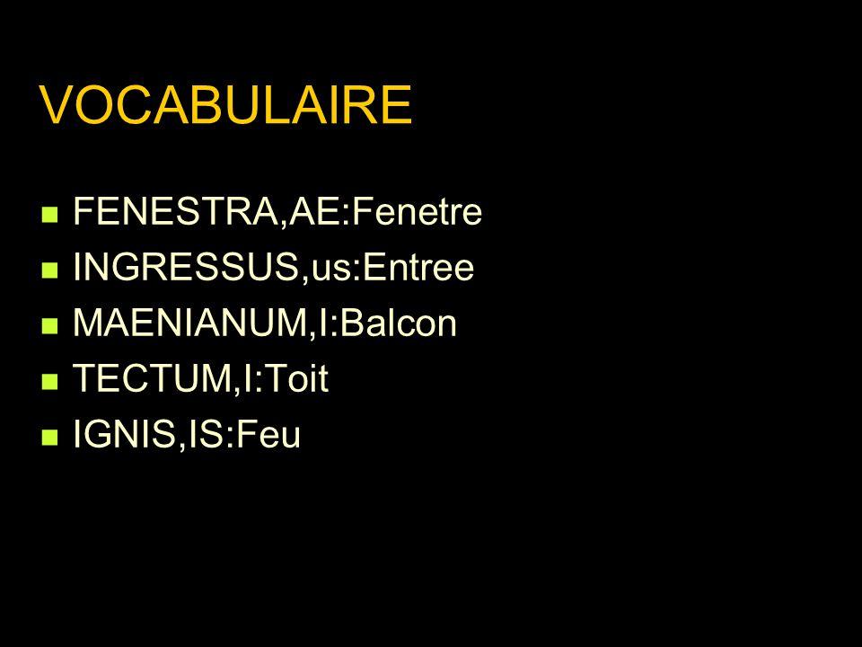 VOCABULAIRE FENESTRA,AE:Fenetre INGRESSUS,us:Entree MAENIANUM,I:Balcon TECTUM,I:Toit IGNIS,IS:Feu