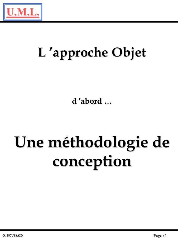 U.M.L. Page : 1 O. BOUSSAID L approche Objet d abord … Une méthodologie de conception