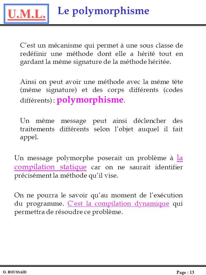 U.M.L. Page : 12 O. BOUSSAID L Héritage multiple Lhéritage multiple permet à une classe davoir plusieurs classes antécédents et dhériter ainsi de tous