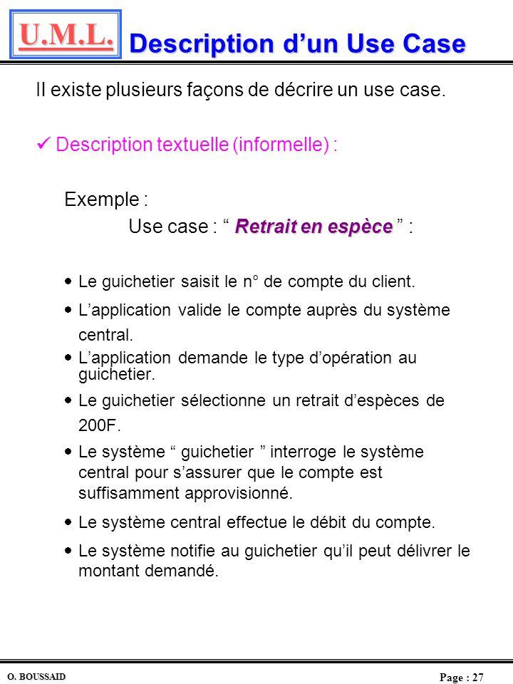 U.M.L. Page : 26 O. BOUSSAID Les uses cases Les uses cases Ceux sont les utilisations du système Il sagit de déterminer les éléments constitutifs dun