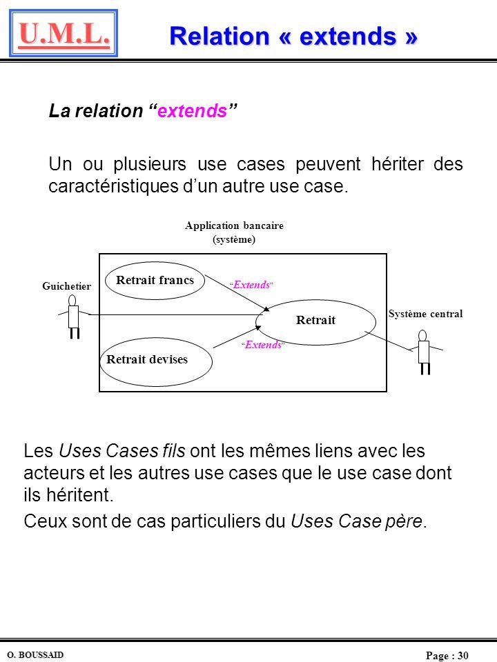 U.M.L. Page : 29 O. BOUSSAID Diagramme des Use Cases Lintégration dans lUse Case Application bancaire des use cases de chaque opération permet davoir