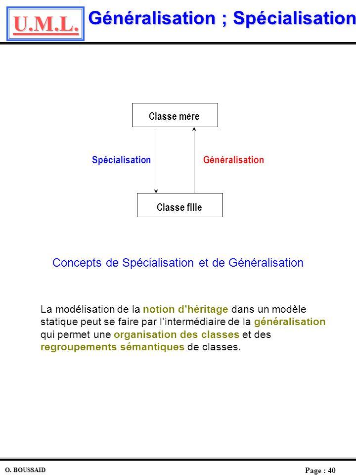 U.M.L. Page : 39 O. BOUSSAID Diagramme des Classes Le modèle objet sera représenté par un diagramme de classes où chacune sera décrite avec ses attrib