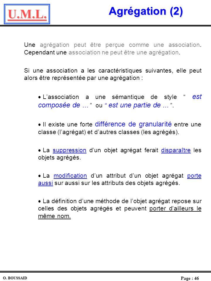U.M.L. Page : 45 O. BOUSSAID Agrégation dagrégation Lorsquune association entre deux instances dune classe a en plus une particularité dont le sens es