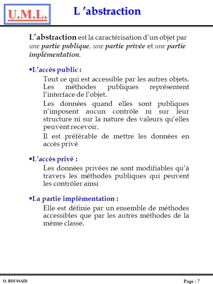 U.M.L. Page : 6 O. BOUSSAID L Encapsulation L Encapsulation Lencapsulation est le fait quun objet renferme ses propres attributs et ses méthodes. Une