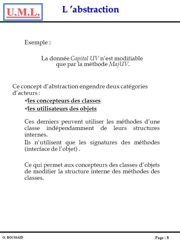 U.M.L. Page : 7 O. BOUSSAID L abstraction L abstraction Labstraction est la caractérisation dun objet par une partie publique, une partie privée et un