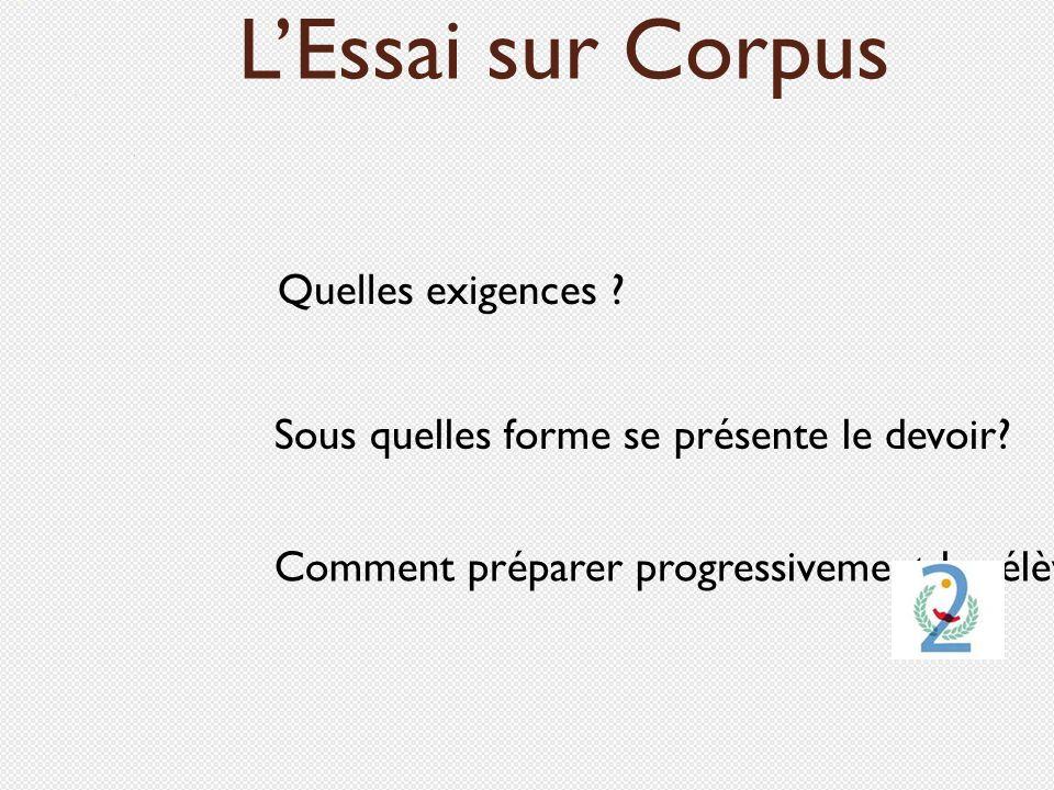 Comment préparer progressivement les élèves ? Quelles exigences ? LEssai sur Corpus Sous quelles forme se présente le devoir?