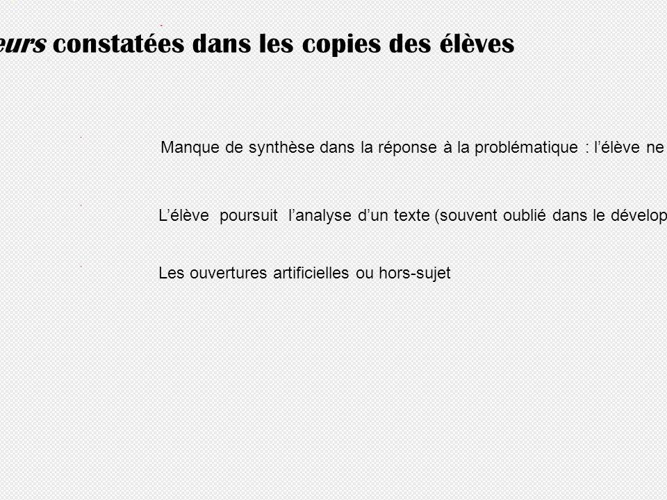 Principales erreurs constatées dans les copies des élèves Manque de synthèse dans la réponse à la problématique : lélève ne prend pas assez de recul f