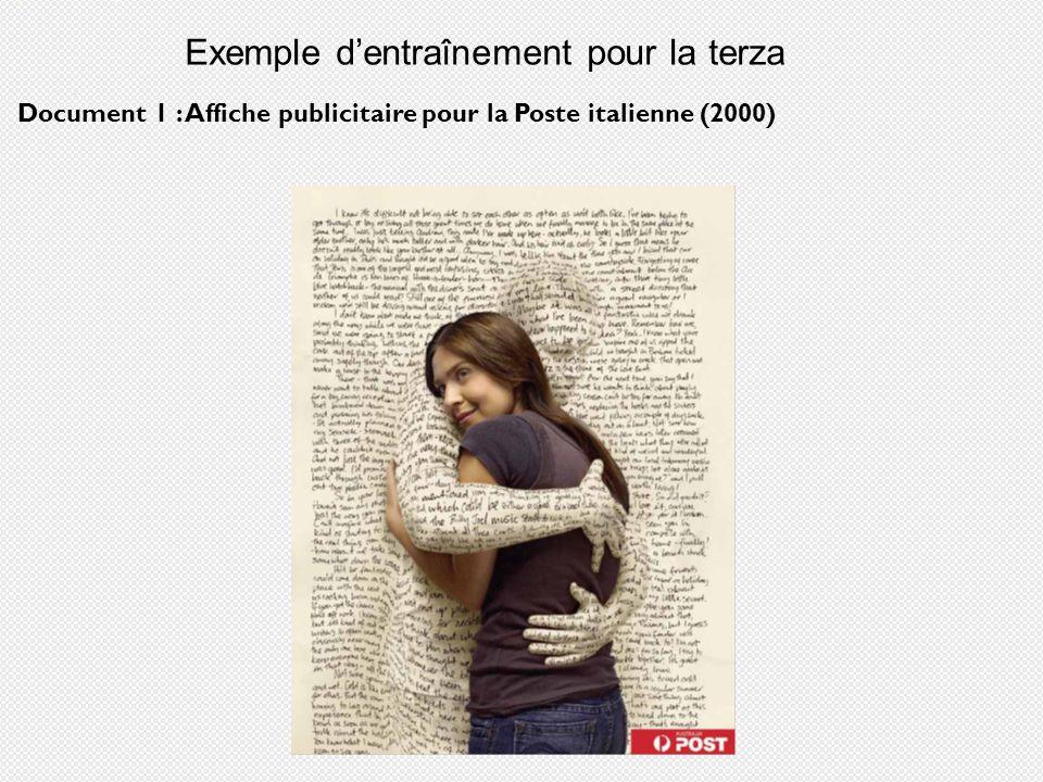 Exemple dentraînement pour la terza Document 1 : Affiche publicitaire pour la Poste italienne (2000)