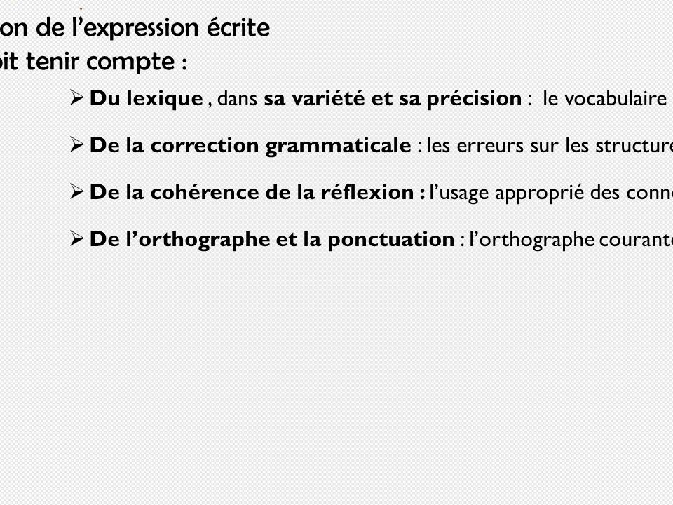 Lévaluation de lexpression écrite doit tenir compte : Du lexique, dans sa variété et sa précision : le vocabulaire doit être assez ample afin déviter