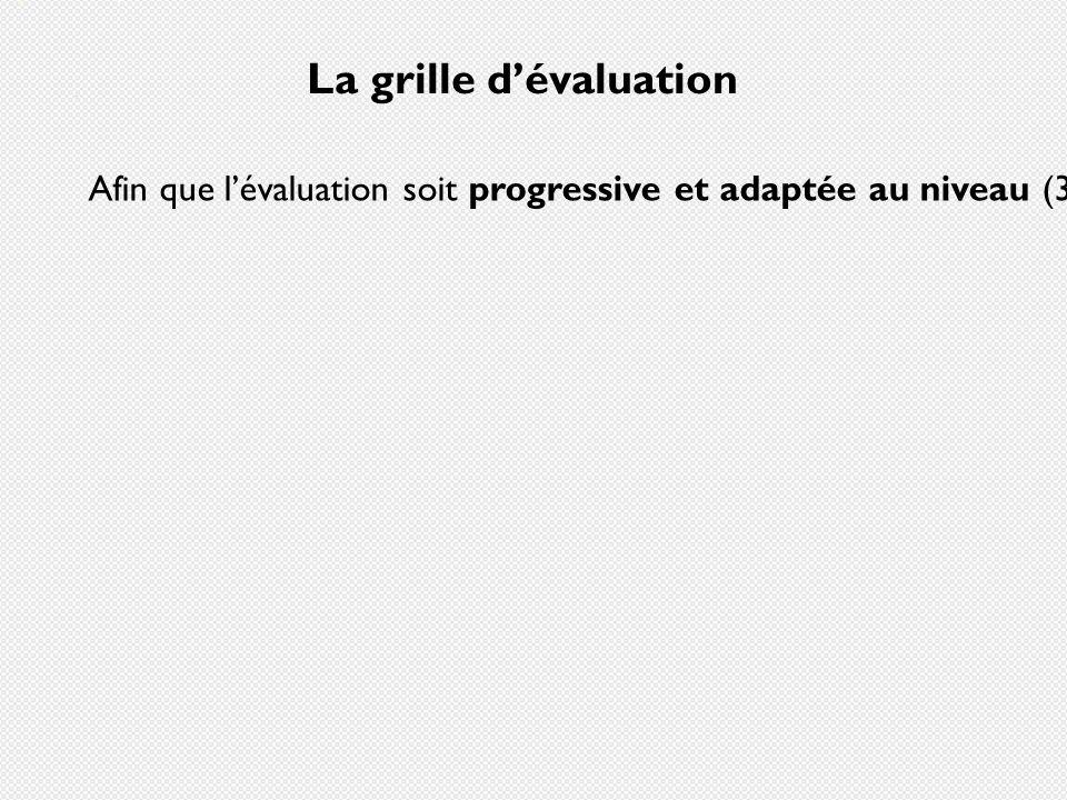 La grille dévaluation Afin que lévaluation soit progressive et adaptée au niveau (3a, 4a, 5a), la grille peut être flexible, et tenir compte des compé