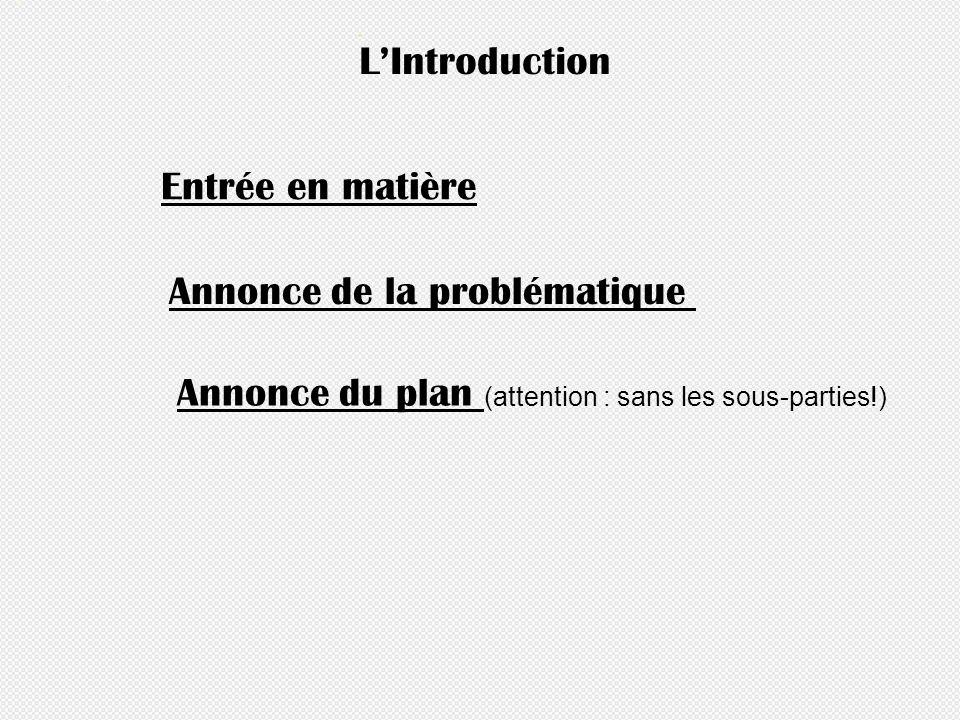 LIntroduction Entrée en matière Annonce du plan (attention : sans les sous-parties!) Annonce de la problématique