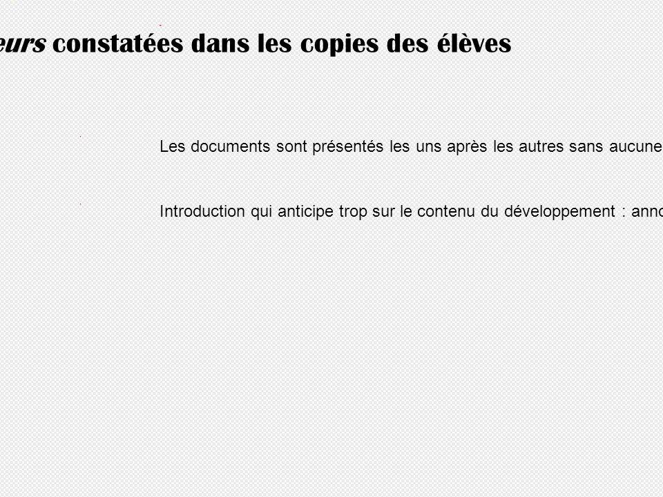 Principales erreurs constatées dans les copies des élèves Les documents sont présentés les uns après les autres sans aucune mise en relation Introduct
