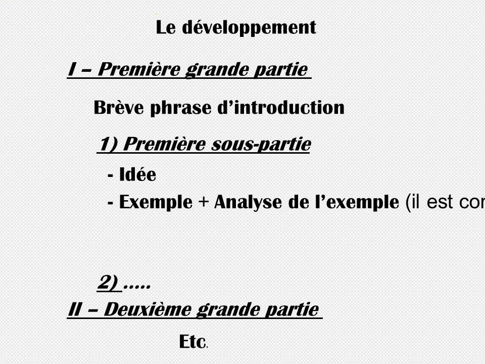 - Idée I – Première grande partie Brève phrase dintroduction 1) Première sous-partie - Exemple + Analyse de lexemple (il est conseillé de mettre en li