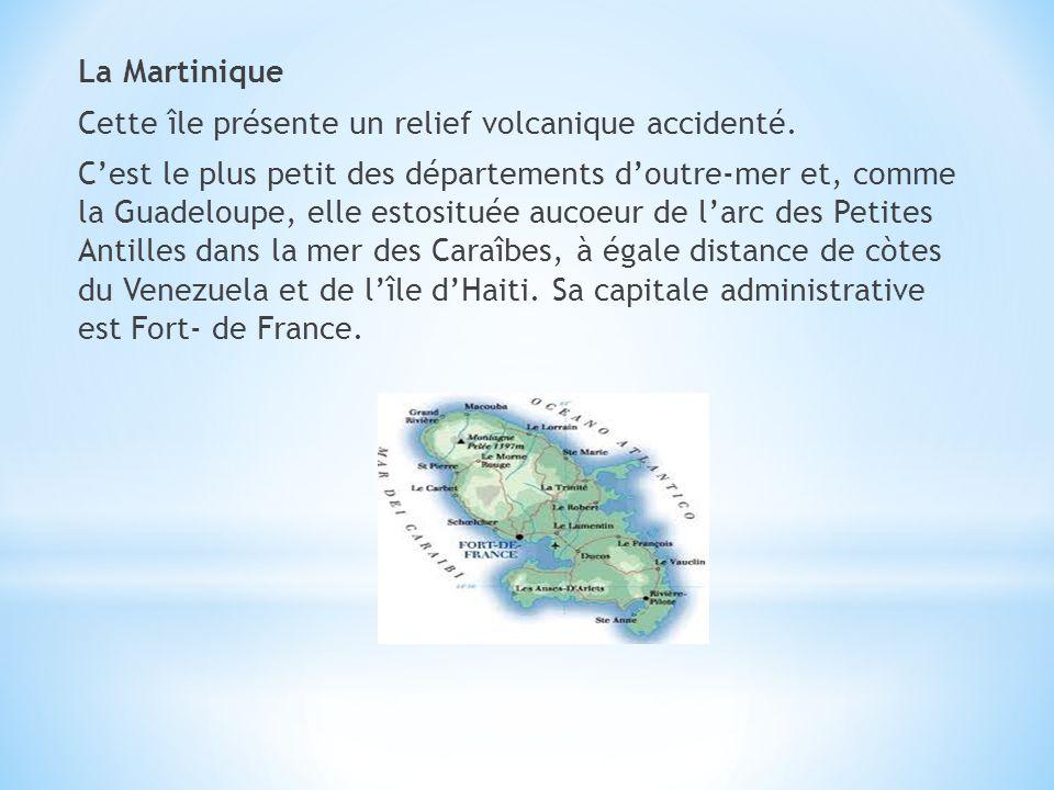 La Martinique Cette île présente un relief volcanique accidenté. Cest le plus petit des départements doutre-mer et, comme la Guadeloupe, elle estositu