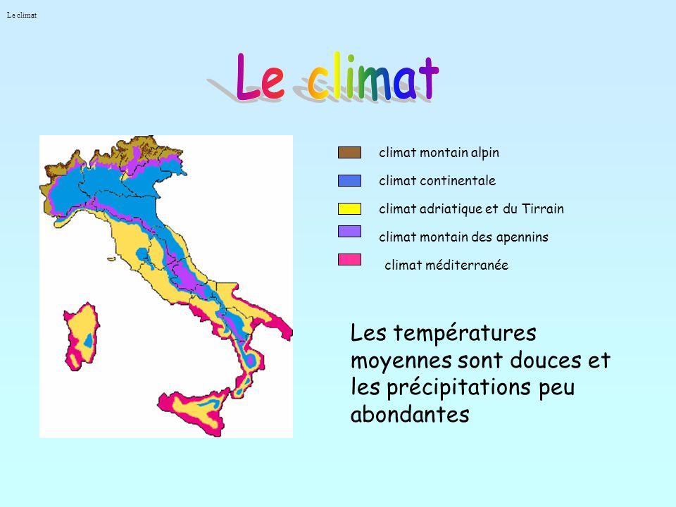 climat montain alpin climat continentale climat adriatique et du Tirrain climat montain des apennins climat méditerranée Les températures moyennes sont douces et les précipitations peu abondantes Le climat