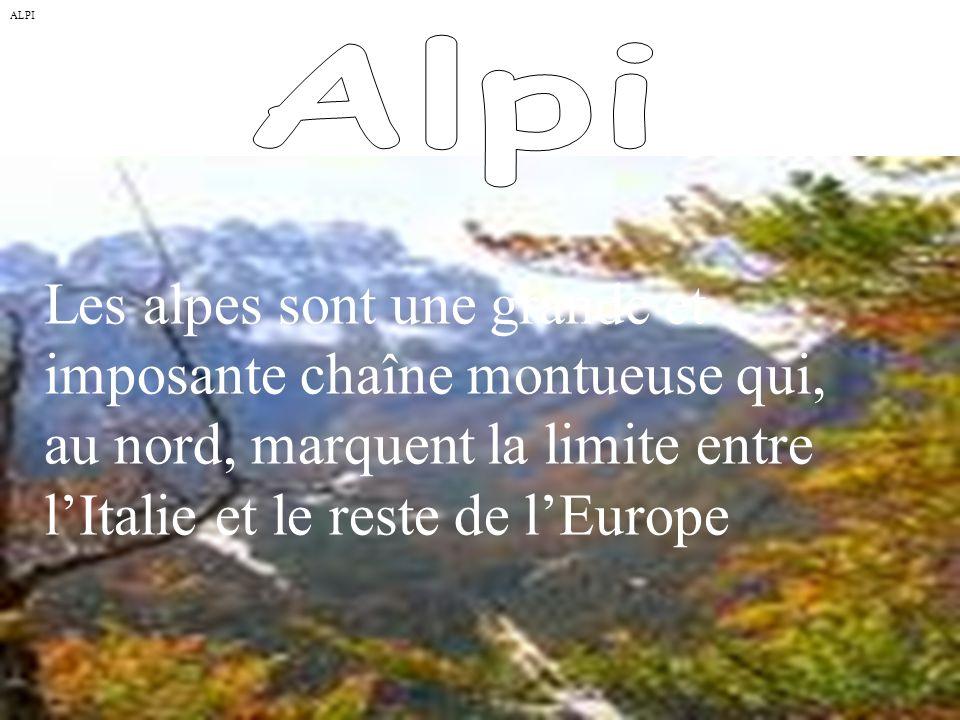ALPI Les alpes sont une grande et imposante chaîne montueuse qui, au nord, marquent la limite entre lItalie et le reste de lEurope