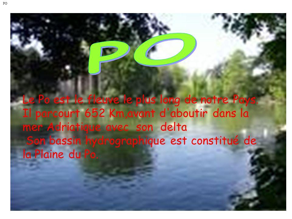 Le Po est le fleuve le plus long de notre Pays. Il parcourt 652 Km,avant d'aboutir dans la mer Adriatique avec son delta Son bassin hydrographique est