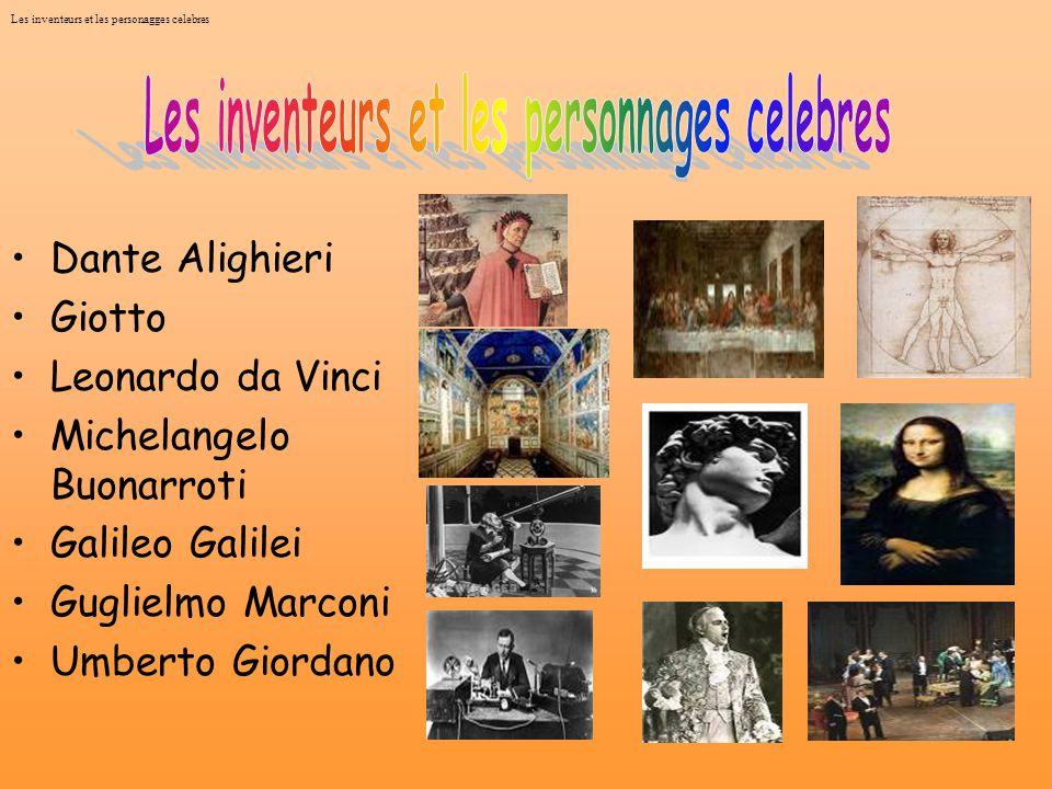 Les inventeurs et les personagges celebres Dante Alighieri Giotto Leonardo da Vinci Michelangelo Buonarroti Galileo Galilei Guglielmo Marconi Umberto Giordano