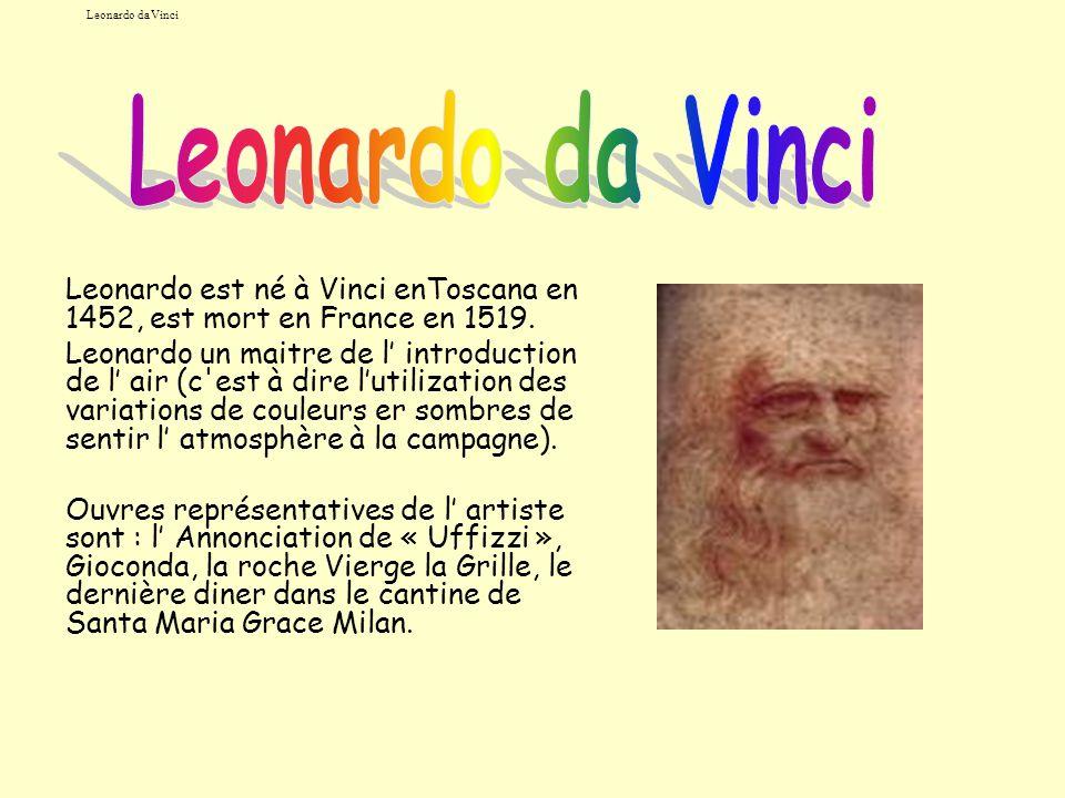 Leonardo da Vinci Leonardo est né à Vinci enToscana en 1452, est mort en France en 1519. Leonardo un maitre de l introduction de l air (c'est à dire l