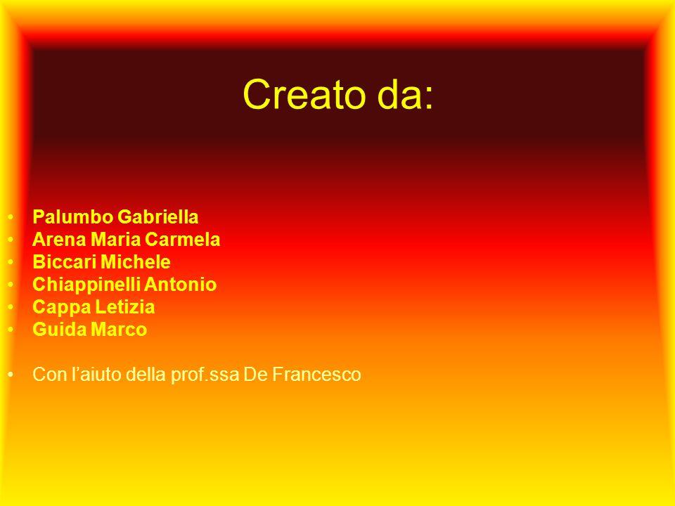 Creato da: Palumbo Gabriella Arena Maria Carmela Biccari Michele Chiappinelli Antonio Cappa Letizia Guida Marco Con laiuto della prof.ssa De Francesco