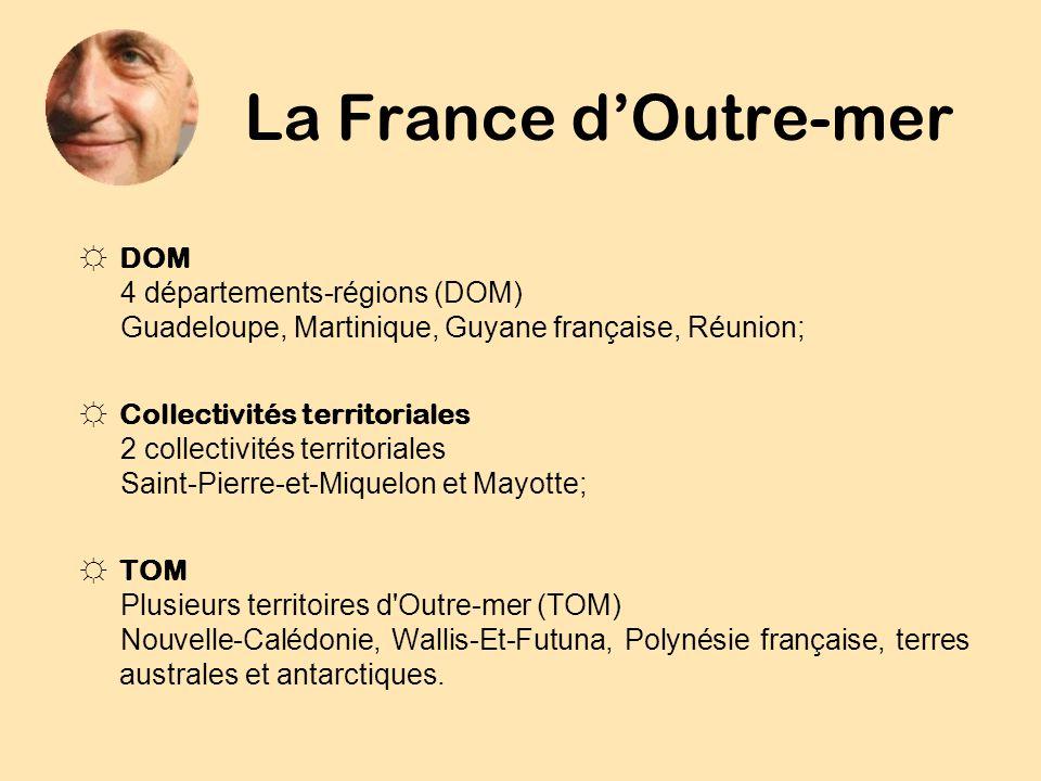 La France dOutre-mer DOM 4 départements-régions (DOM) Guadeloupe, Martinique, Guyane française, Réunion; Collectivités territoriales 2 collectivités t