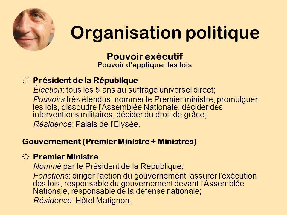 Organisation politique Pouvoir exécutif Pouvoir d'appliquer les lois Président de la République Élection: tous les 5 ans au suffrage universel direct;