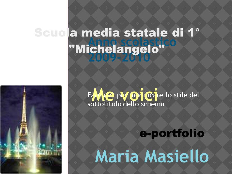 Fare clic per modificare lo stile del sottotitolo dello schema Présentation Je mappelle… Nom: Masiello Prénom: Maria Classe: 1°E Age: 11 ans