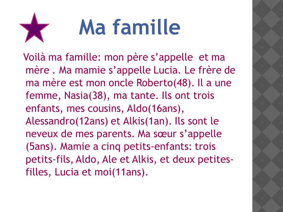 Voilà ma famille: mon père sappelle et ma mère.Ma mamie sappelle Lucia.