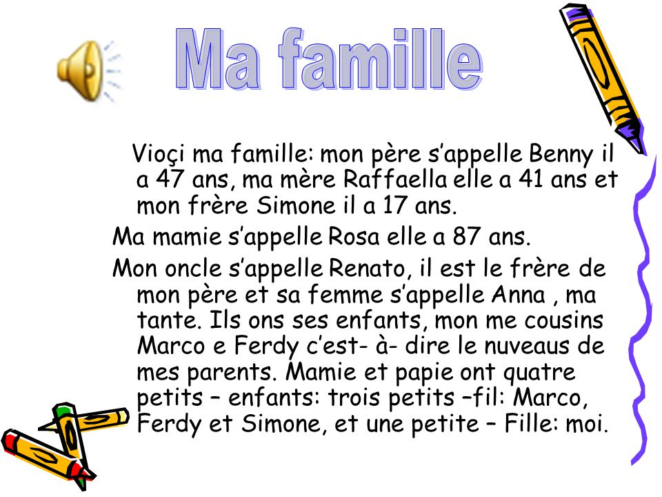 Vioçi ma famille: mon père sappelle Benny il a 47 ans, ma mère Raffaella elle a 41 ans et mon frère Simone il a 17 ans. Ma mamie sappelle Rosa elle a