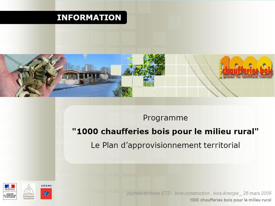1000 chaufferies bois pour le milieu rural INFORMATION Programme