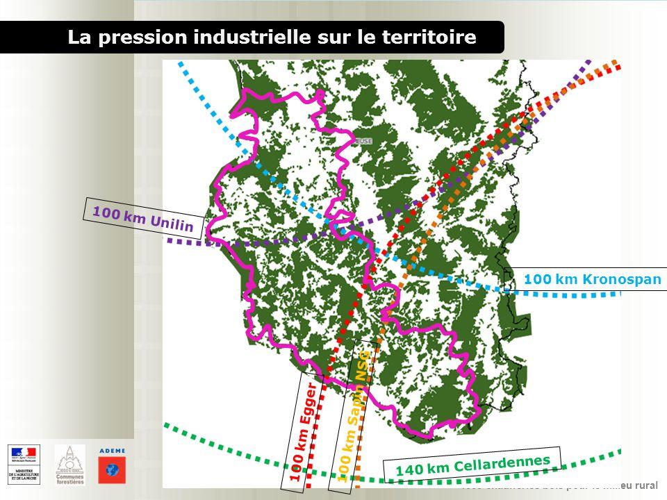 1000 chaufferies bois pour le milieu rural La pression industrielle sur le territoire 100 km Unilin 140 km Cellardennes 100 km Kronospan 100 km Egger