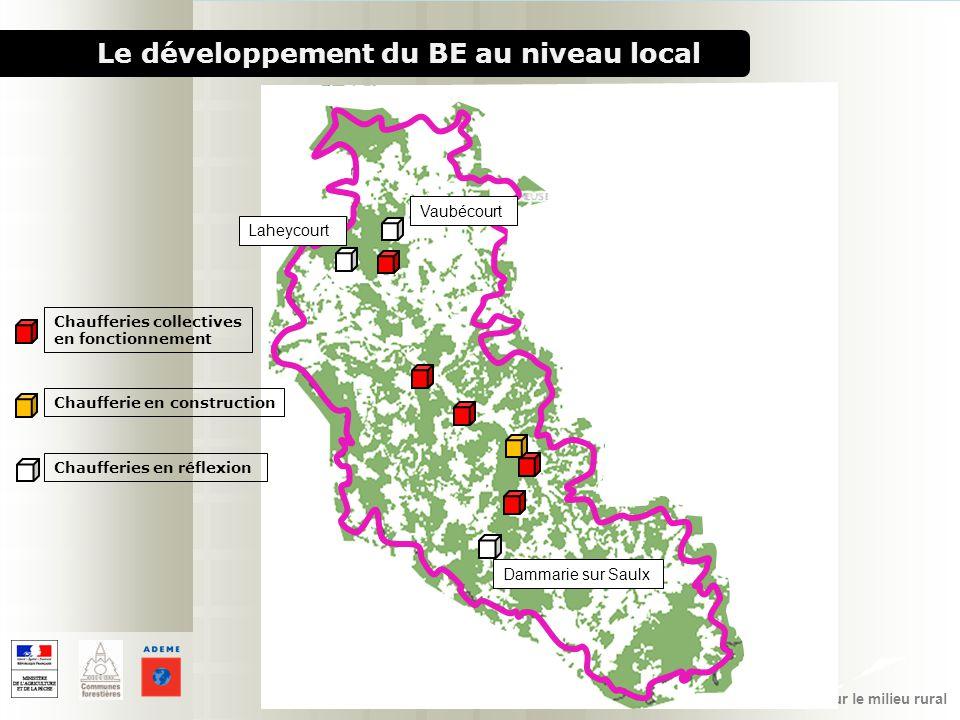 1000 chaufferies bois pour le milieu rural Le développement du BE au niveau local Chaufferies collectives en fonctionnement Chaufferie en construction